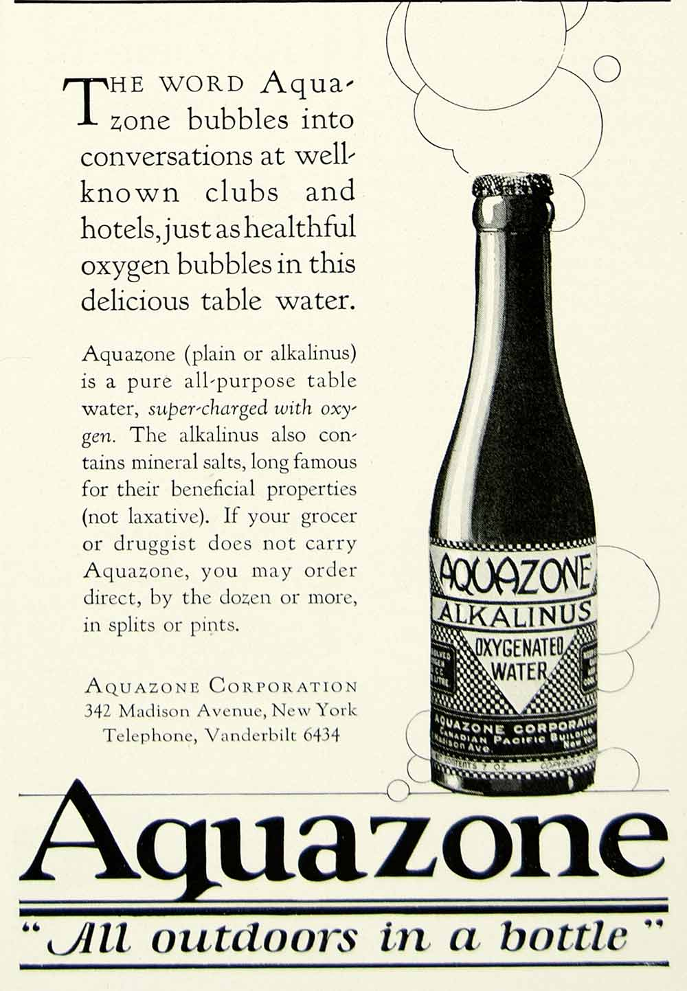 1924 Ad Aquazone Oxygenated Water Bottle Alkalinus 342 Madison Ave NY YTS2