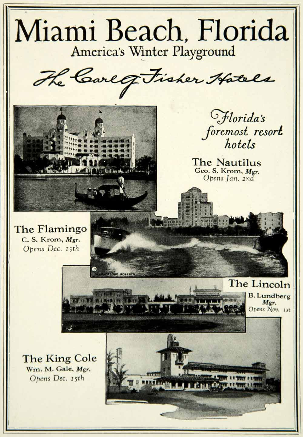 1925 Ad Miami Beach FL Flamingo Nautilus Lincoln King Cole Luxury Hotel YTS2