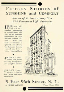 1929 Ad 9 East 96th St Fifth Ave NY Luxury Apartment Building City Fifteen YTS2