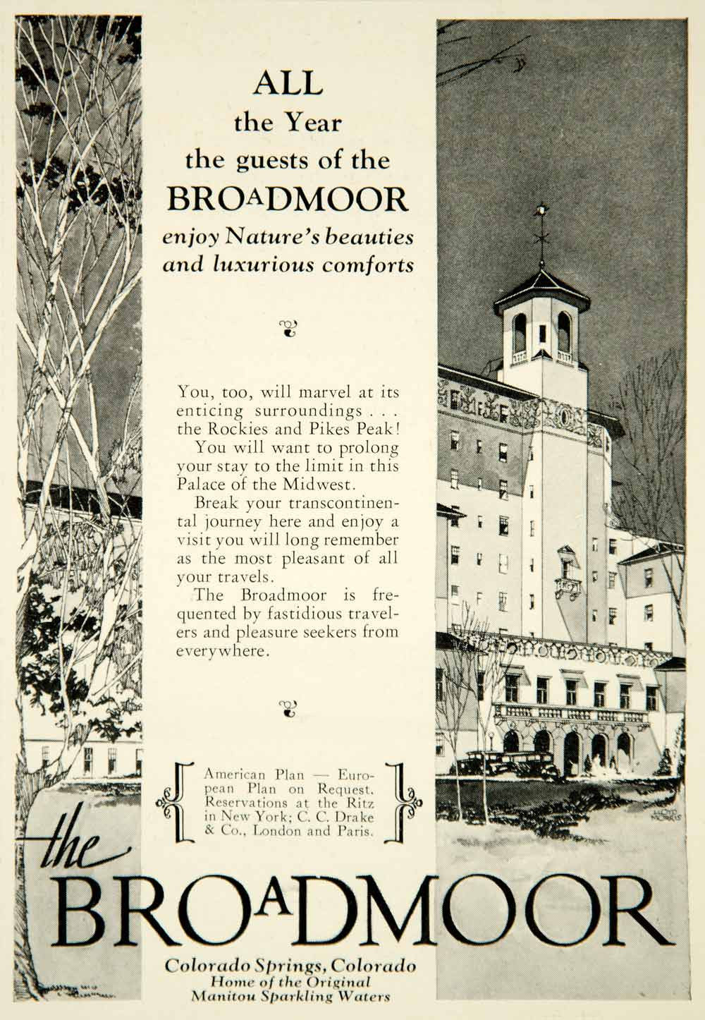 1931 Ad Broadmoor Luxury Hotel Colorado Springs CO Travel Rocky Mountain YTS2