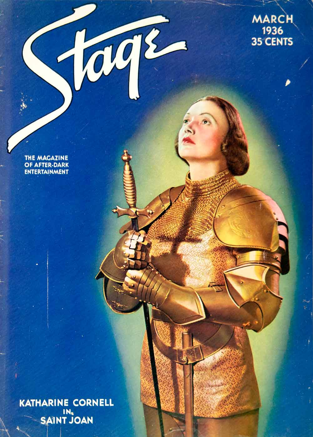 1935 Cover Stage Magazine Katherine Cornell Saint Joan Arc Armor Costume YTS3