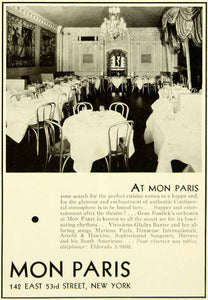 1935 Ad Mon Paris Restaurant 53rd Street New York City Dine Interior Tables YTS3