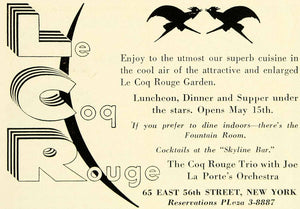 1935 Ad Le Coq Rouge Trio Joe La Porte Orchestra Restaurant Entertainment YTS3