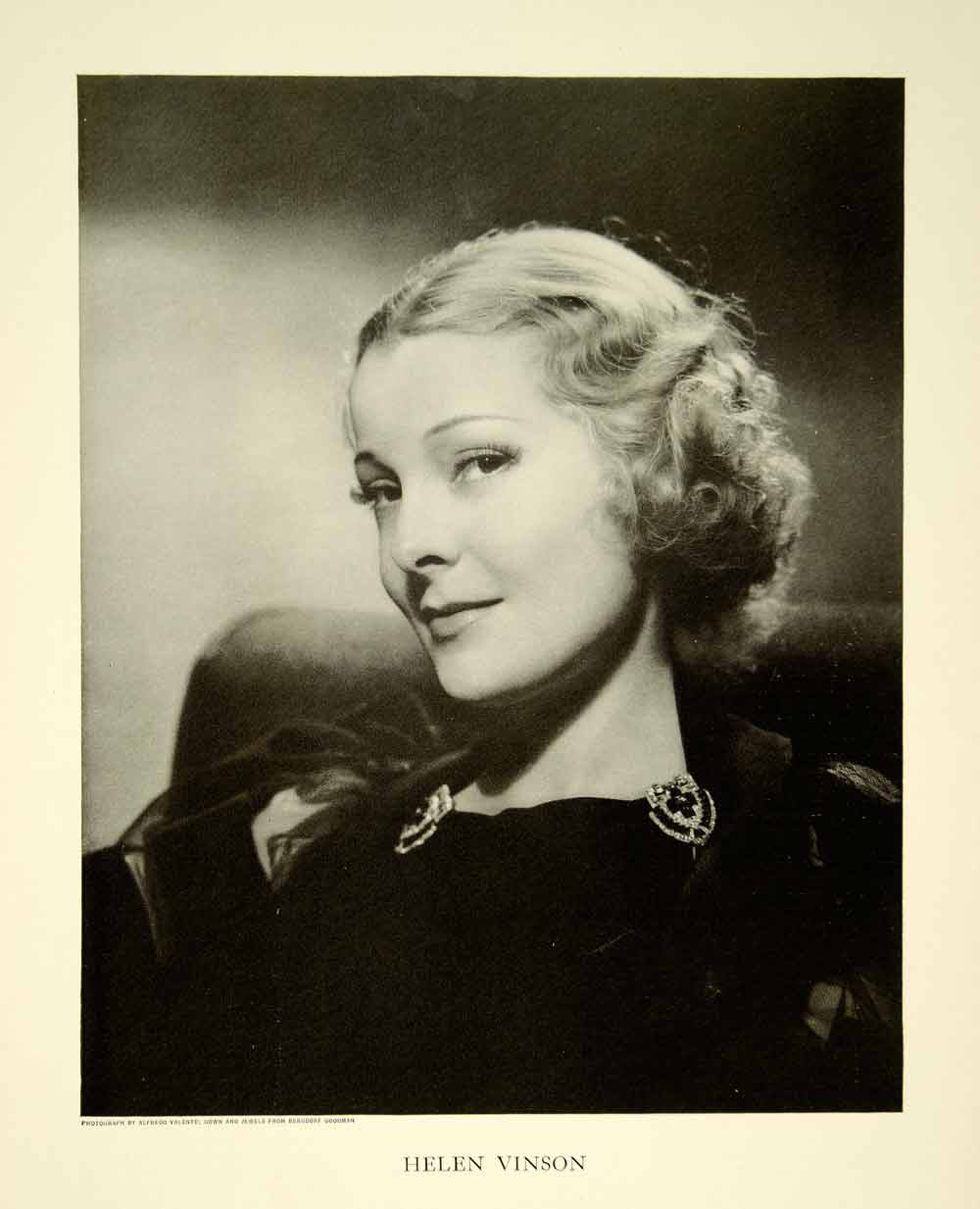 1935 Print Portrait Helen Vinson Actress Theater Broadway Bill Fashion YTS3