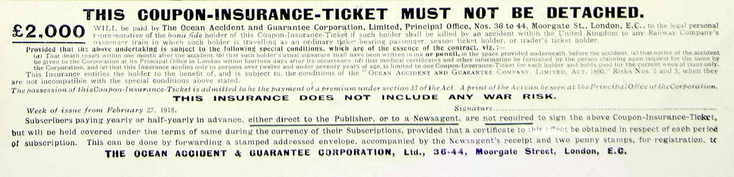 1918 Ad Coupon Insurance Ticket Ocean Accident Guarantee London England YTT1