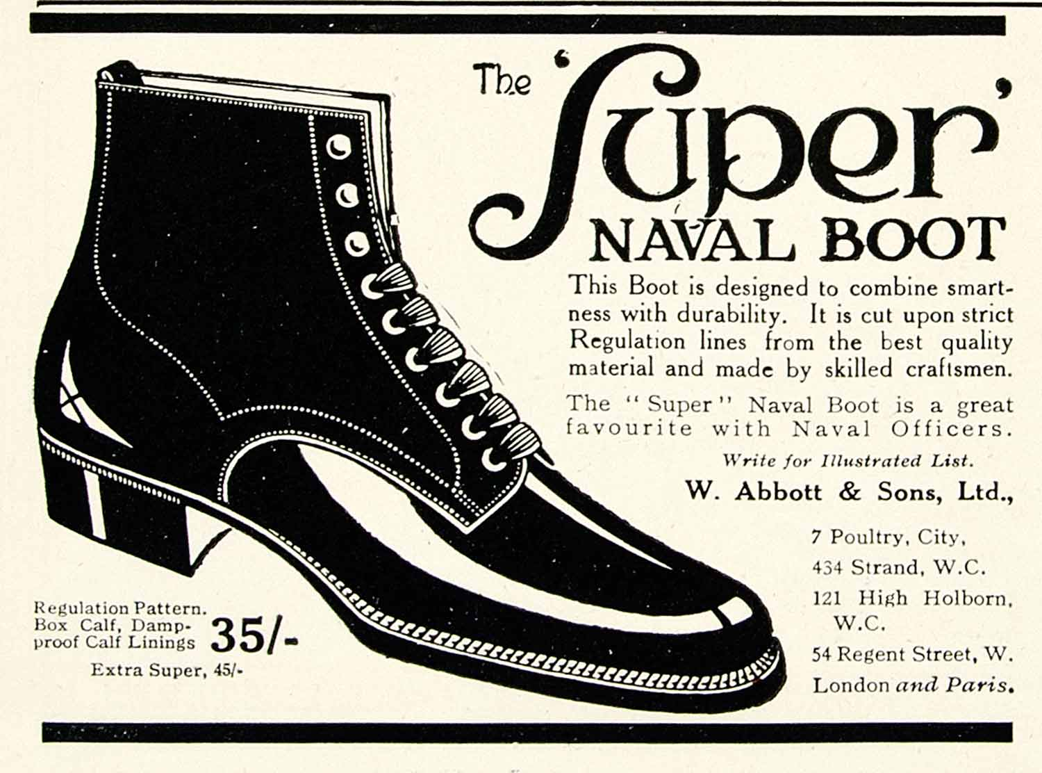 1918 Ad Super Naval Boot Shoe Abbot Sons Fashion Accessories Officer YTT1