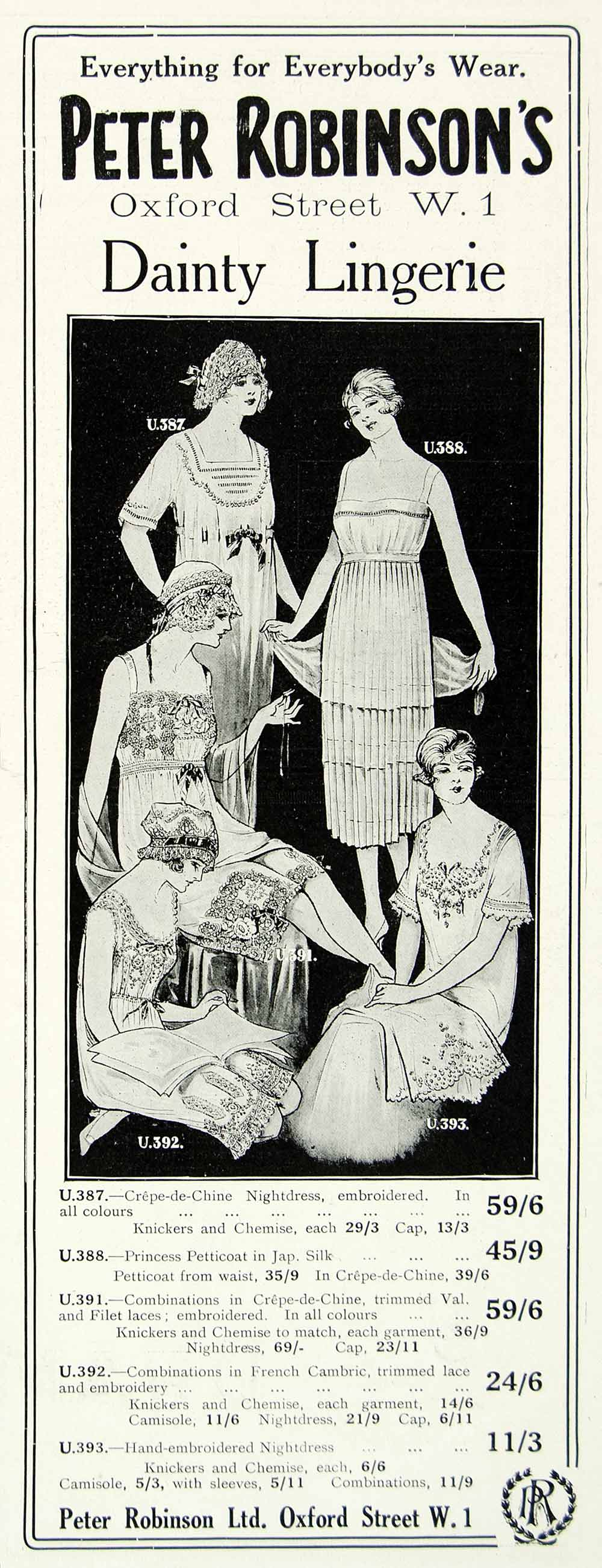 1918 Ad Peter Robinson Dainty Lingerie Clothing Fashion Women Nightgown YTT1