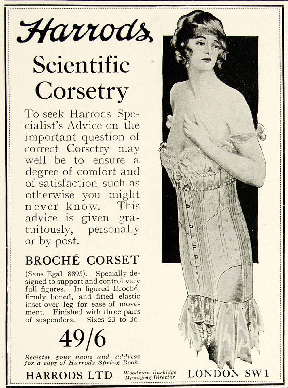 1918 Ad Harrods Scientific Corsetry Broche Woman Fashion Clothing London YTT1