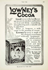 1911 Ad Walter M Lowney Breakfast Cocoa Chocolate Kitchen Food Art Nouveau YTT2