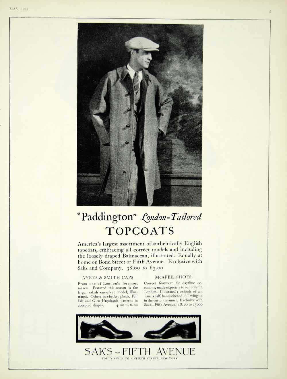 1925 Ad Vintage Paddington English Topcoat Mens Fashion Saks Fifth Avenue  YVF1