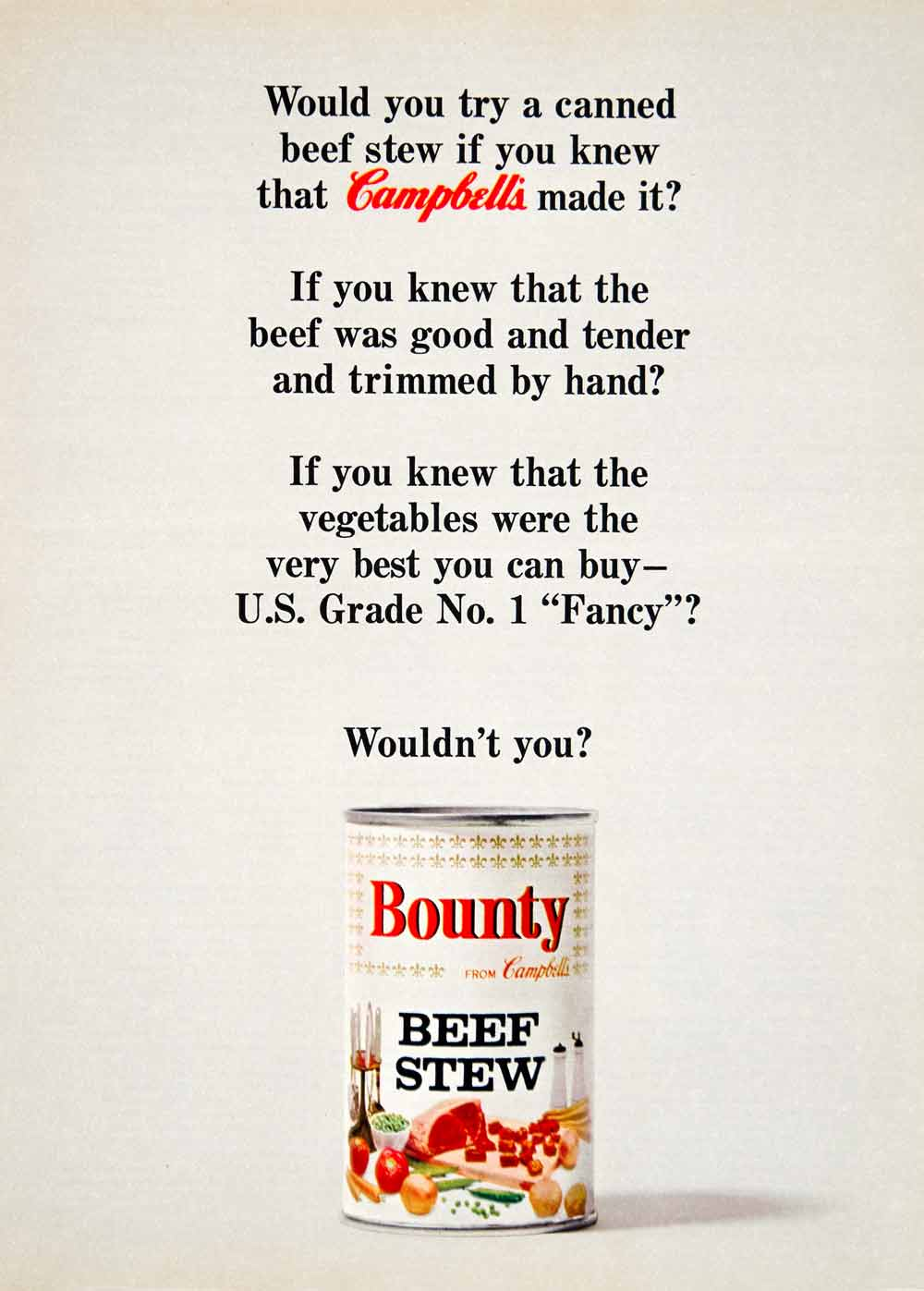 1964 Ad Vintage Campbell's Bounty Beef Stew Canned Food Convenience Tinned YWD2