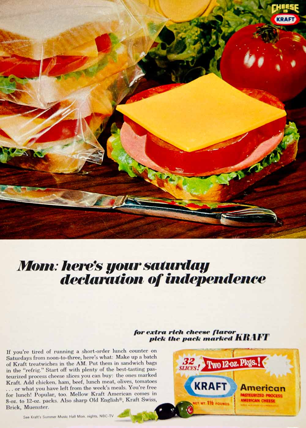 1966 Ad Kraft American Pasteurized Processed Cheese Slices Sandwich Food YWD2