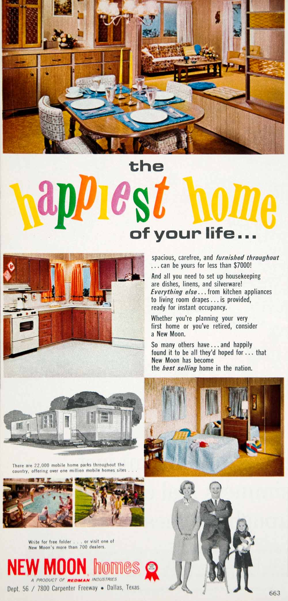 1966 Ad New Moon Homes Mobile Trailer Park Redman Industries Dallas Texas  YWD2