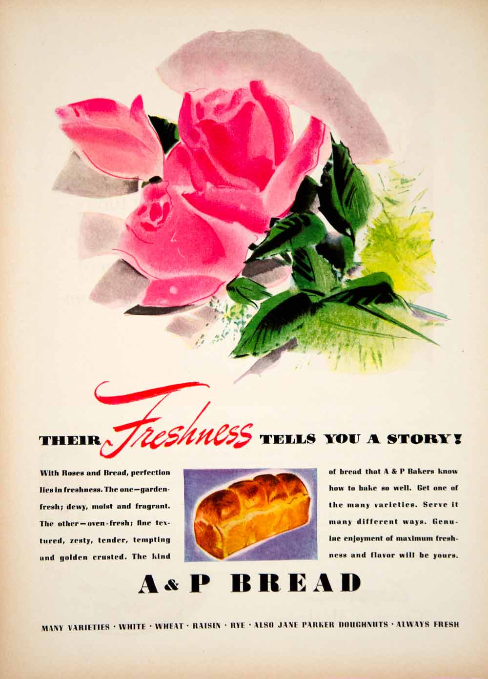 1939 Ad Vintage A & P Bread Bakery Crust Loaf Sliced Food Pink Rose Flower YWD3