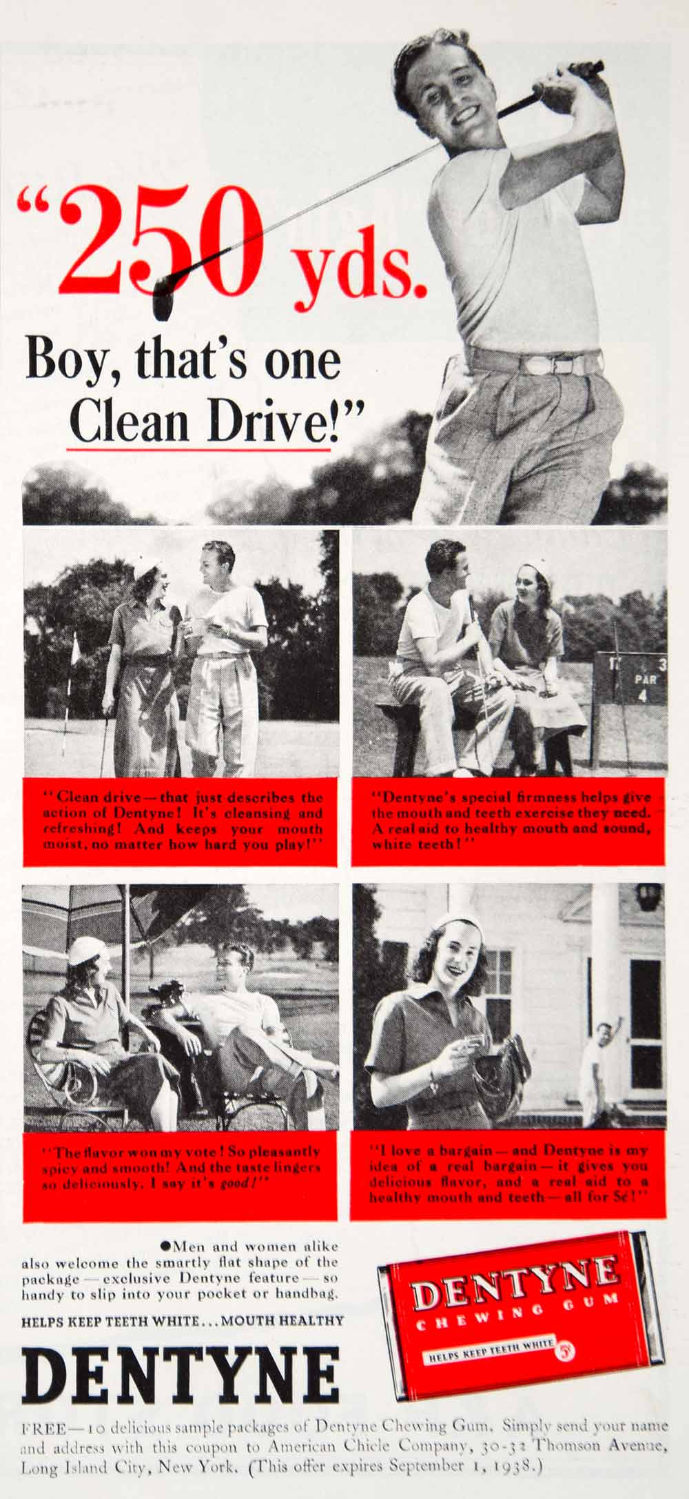 1938 Ad Vintage Dentyne Chewing Gum American Chicle Co. Golf Golfing Golfer YWD3