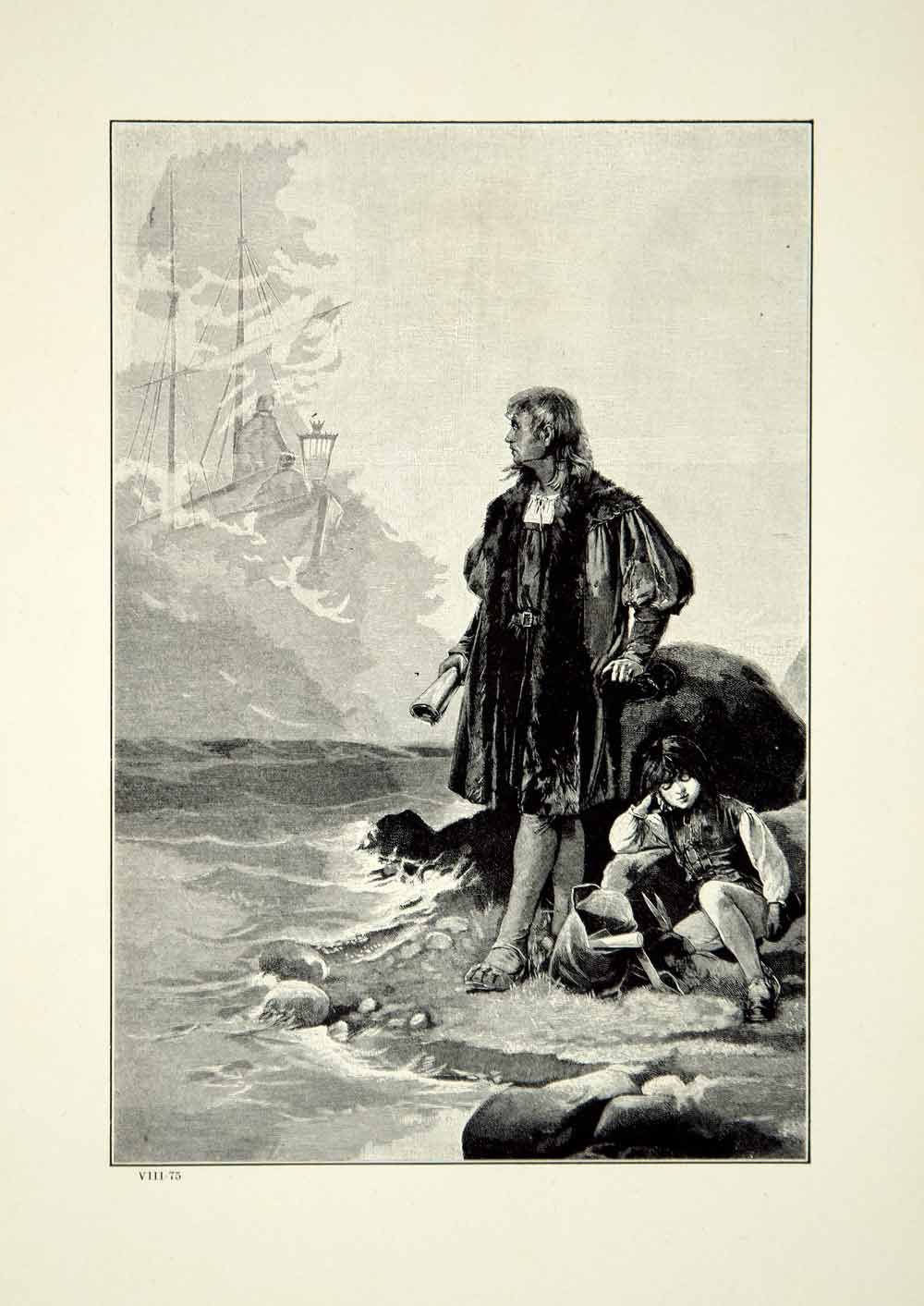 1921 Wood Engraving Art Christopher Columbus Discovery America Manuel YWE1