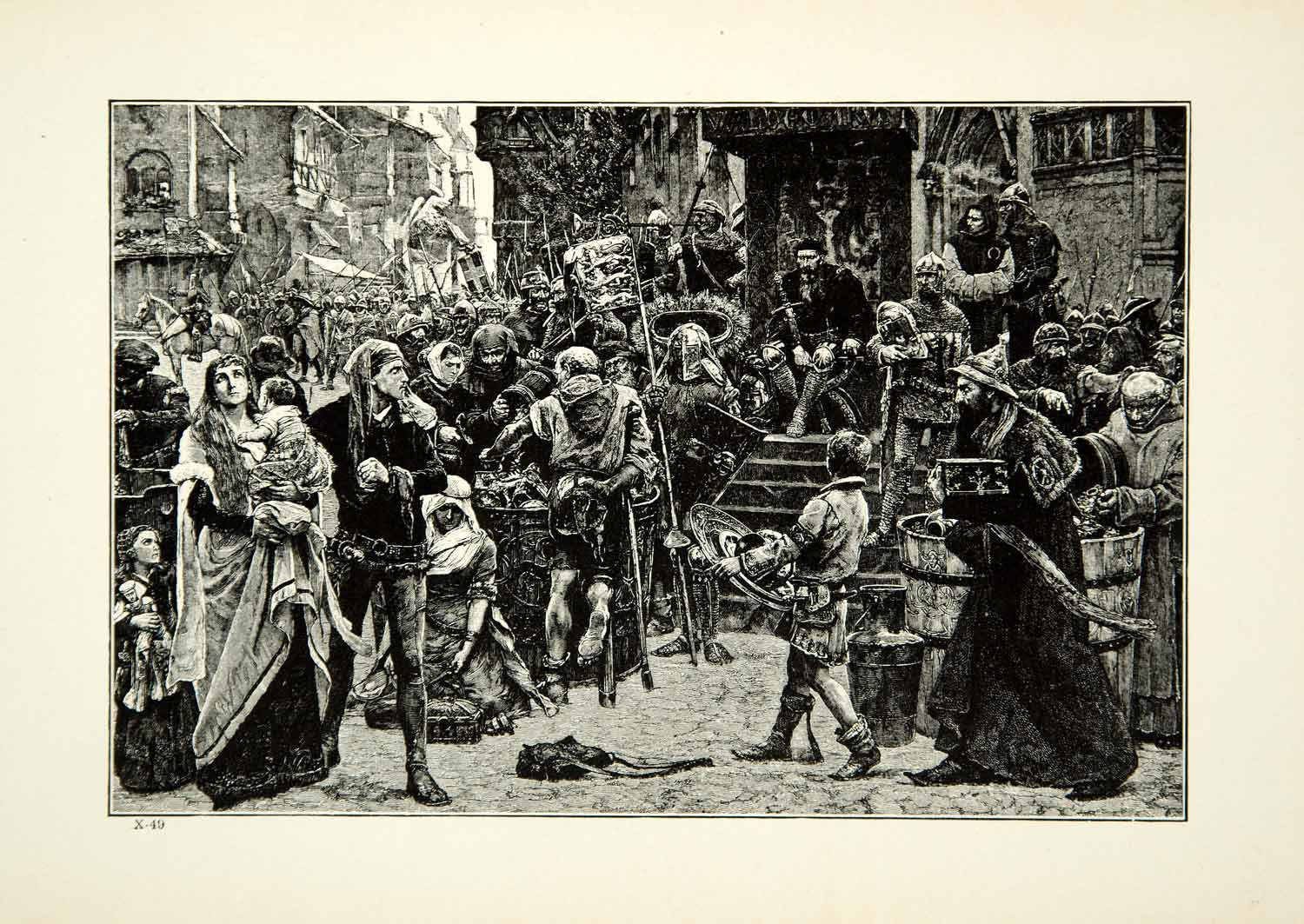 1921 Print CG Hellquist Art Danish Army Sack Wisby City Germany Middle Ages YWE1