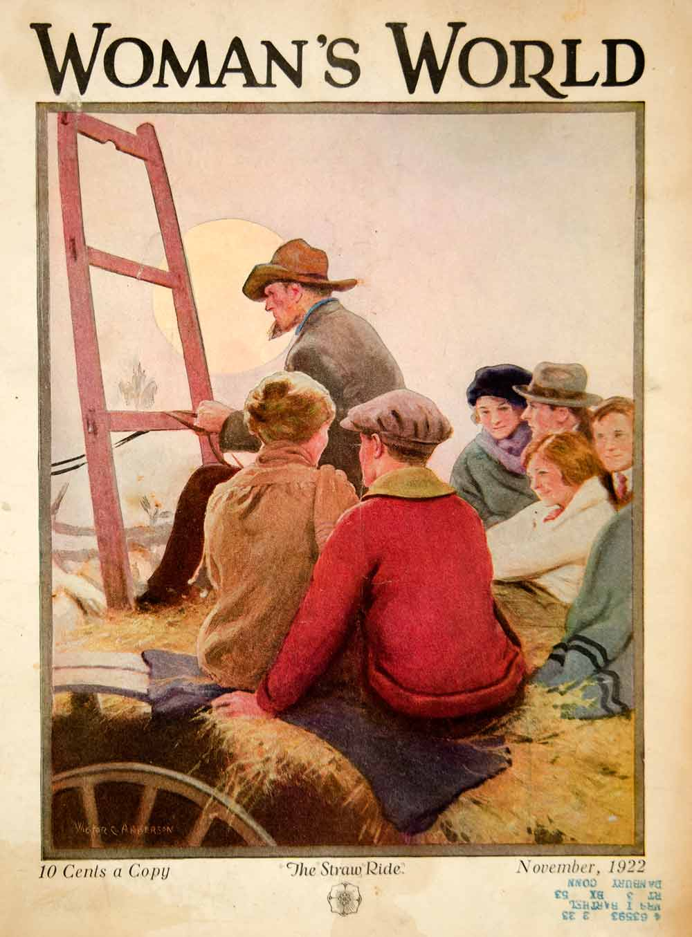 1922 Cover Womans World Victor C Anderson Art Hay Straw Ride Wagon Rural YWW1