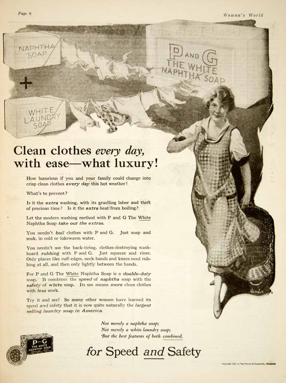 1922 Ad Procter Gamble White Naphtha Soap CF Neagle Art Laundry Housewife YWW1