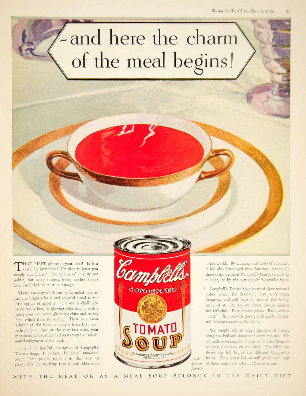 1928 Ad Campbells Tomato Soup Food Vegetable Fruit Grocery