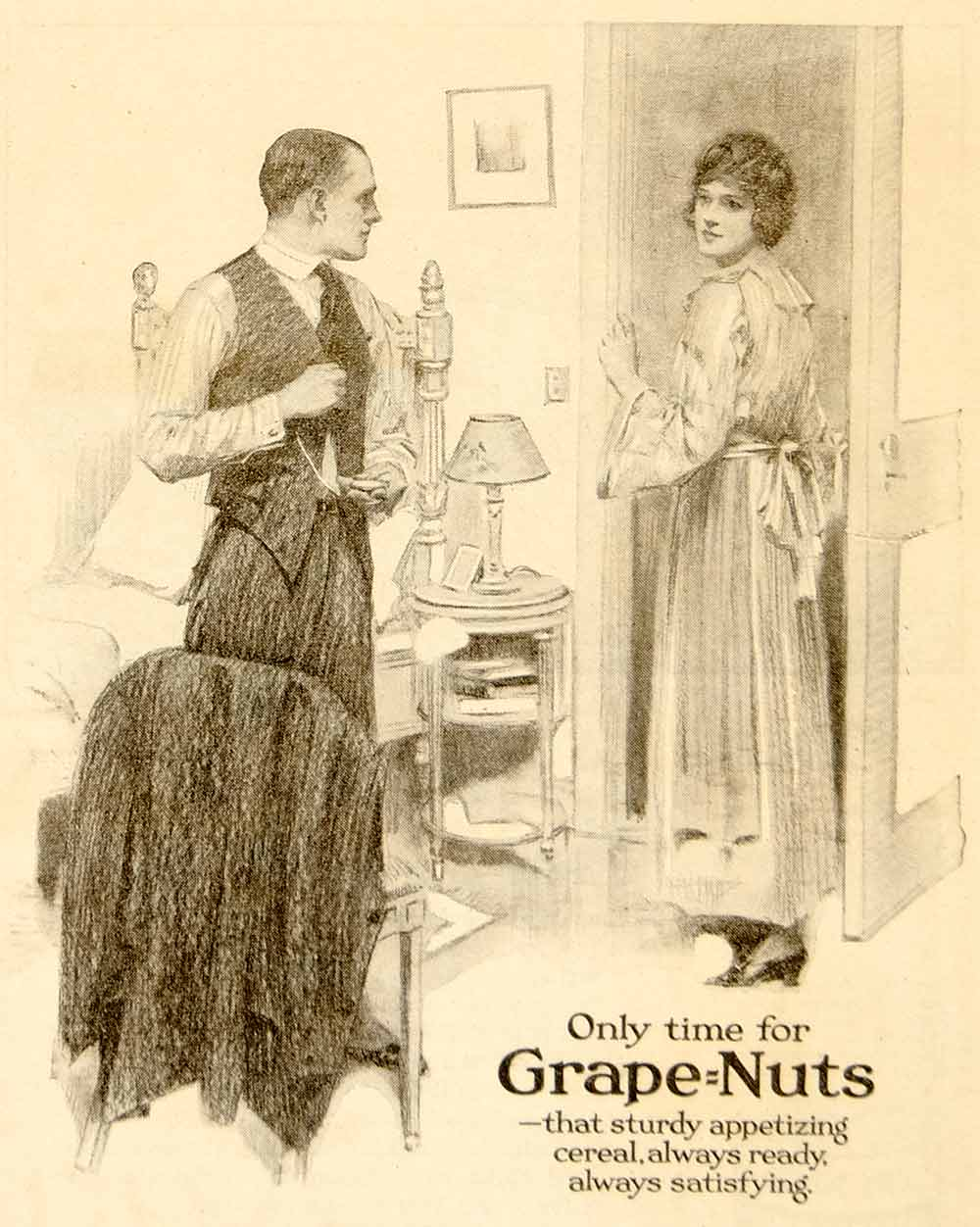 1920 Ad Post Grape Nuts Breakfast Cereal Food Art Grocery Domestic Life YWW1