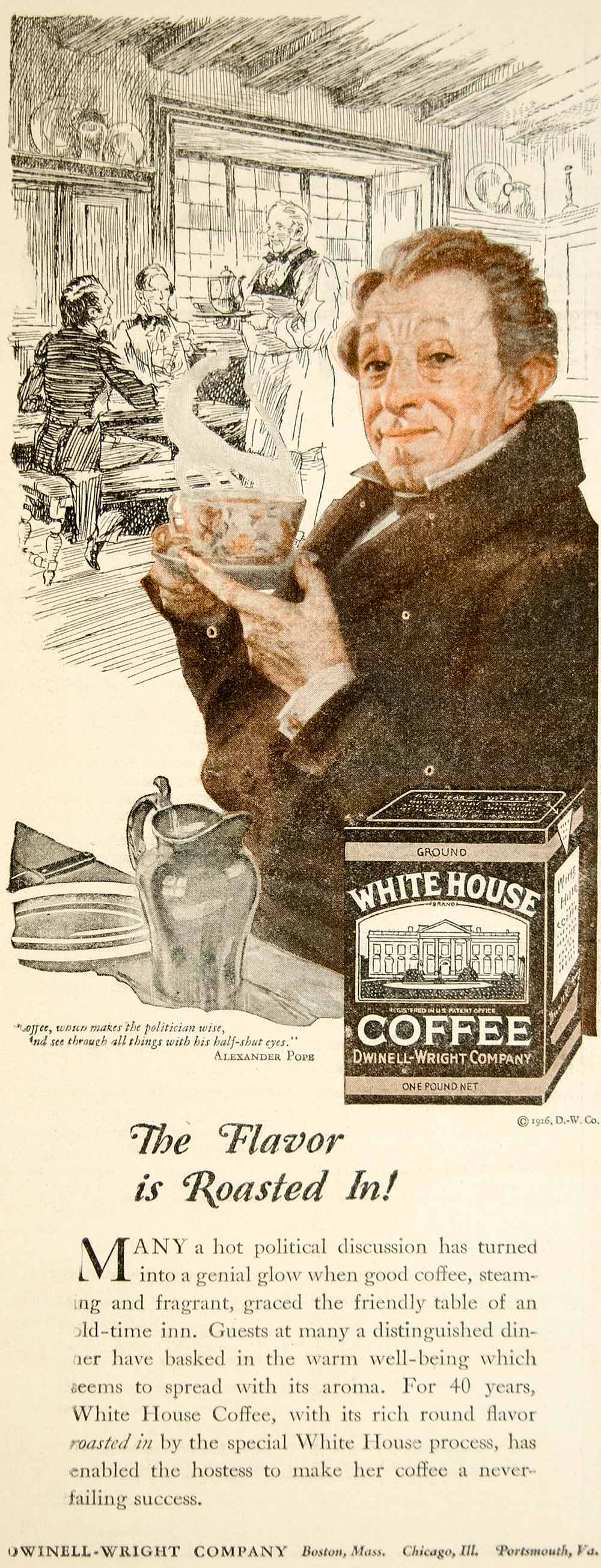 1927 Ad Dwinell Wright White House Coffee Alexander Pope Beverage Drink YWW1