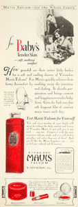 1928 Ad Vivaudou Mavis Talcum Bath Powder Baby Health Beauty Lipstick Rouge YWW1