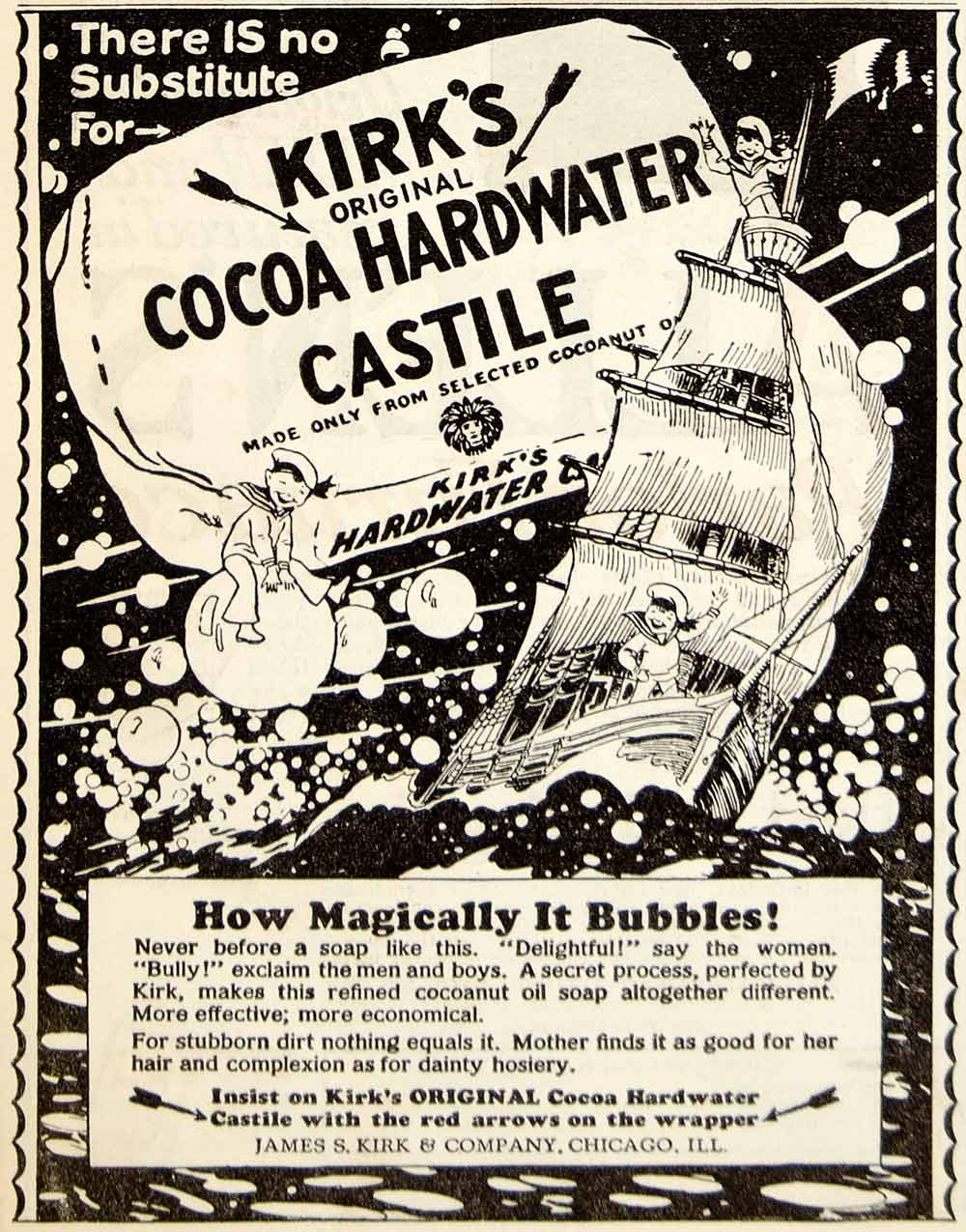 1928 Ad James S Kirk Cocoa Hardwater Castile Soap Child Sailor Sailing Ship  YWW1