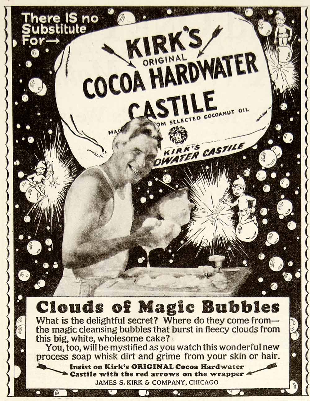1928 Ad James S Kirk Cocoa Hardwater Castile Bath Soap Health Beauty YWW1