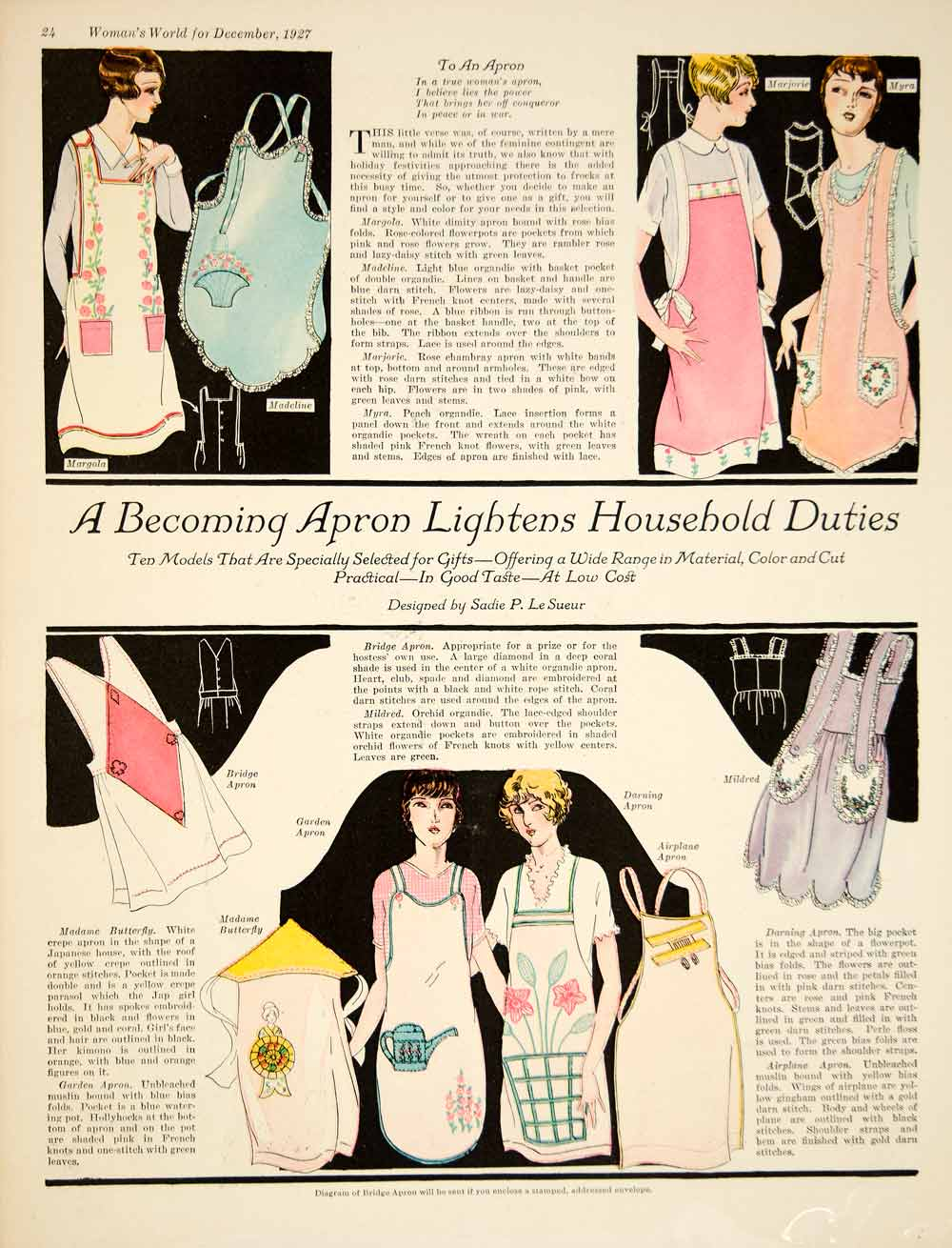 1927 Color Print Art Deco Sadie P LeSueur Womens Apron Fashion Housewife YWW1