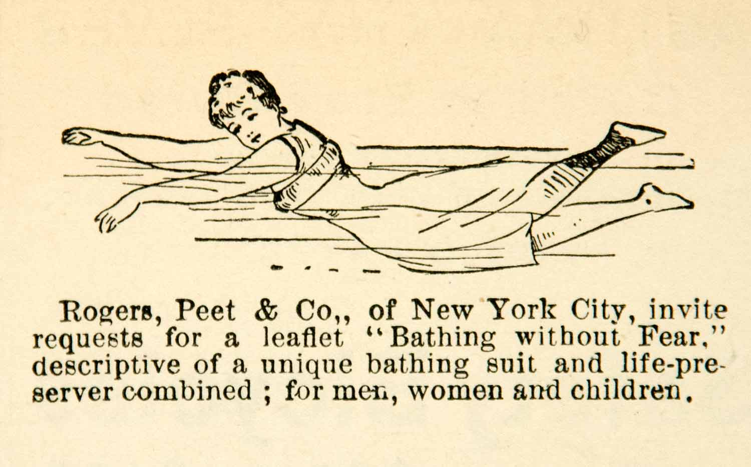1891 Ad Rogers Peet Bathing Suit Swimmer Woman Life Preserver Safety YYC1
