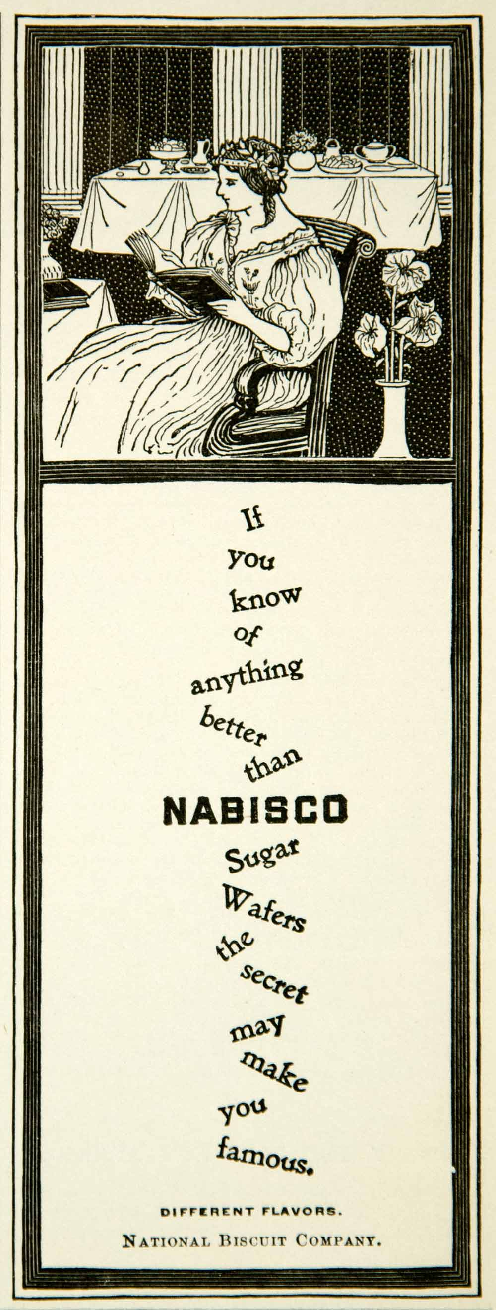 1902 Ad Nabisco Sugar Wafers Victorian Art Nouveau Food Grocery Woman Meal YYC1