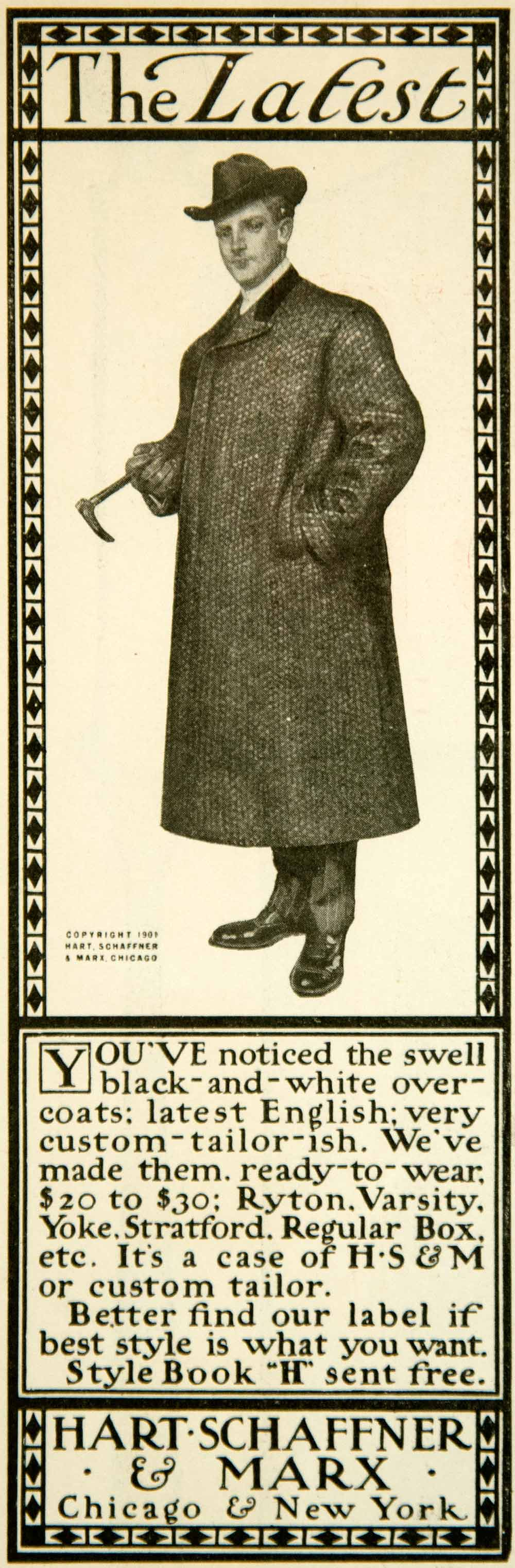 1901 Ad Over Coat Men Fashion Victorian Hart Schaffner Marx Chicago New YYC2
