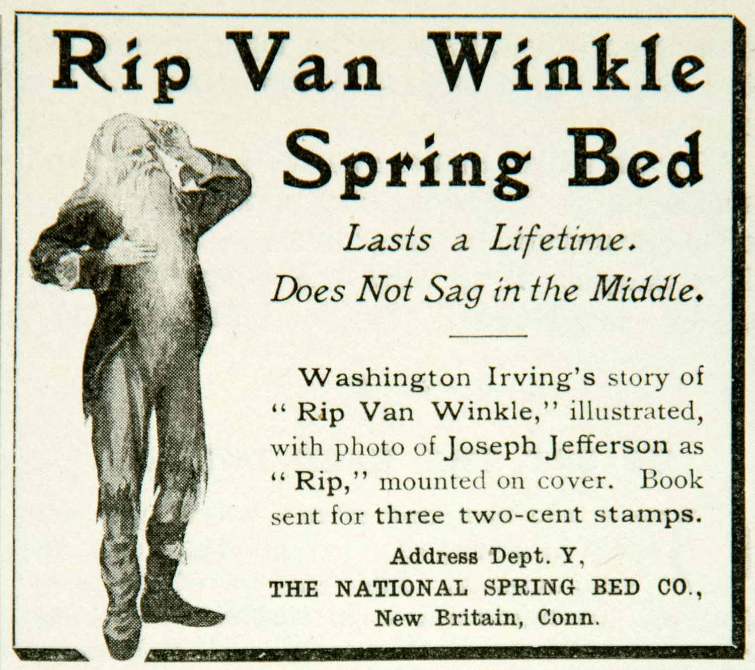 1902 Ad Rip Van Winkle Spring Bed National Spring Bed New Britain YYC2