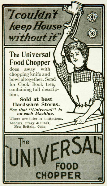 1902 Ad Universal Food Chopper Landers Frary Clark Utensil Kitchen YYC –  Period Paper