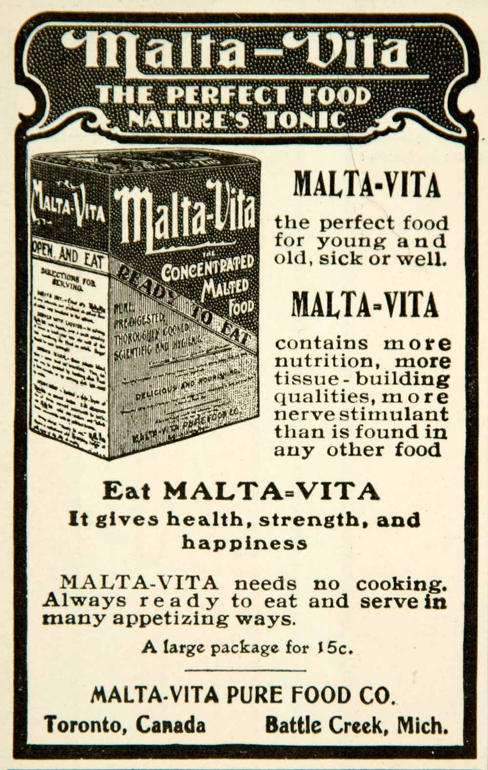 1902 Ad Malta Vita Concentrated Malted Pure Food Breakfast Battle Creek YYC2
