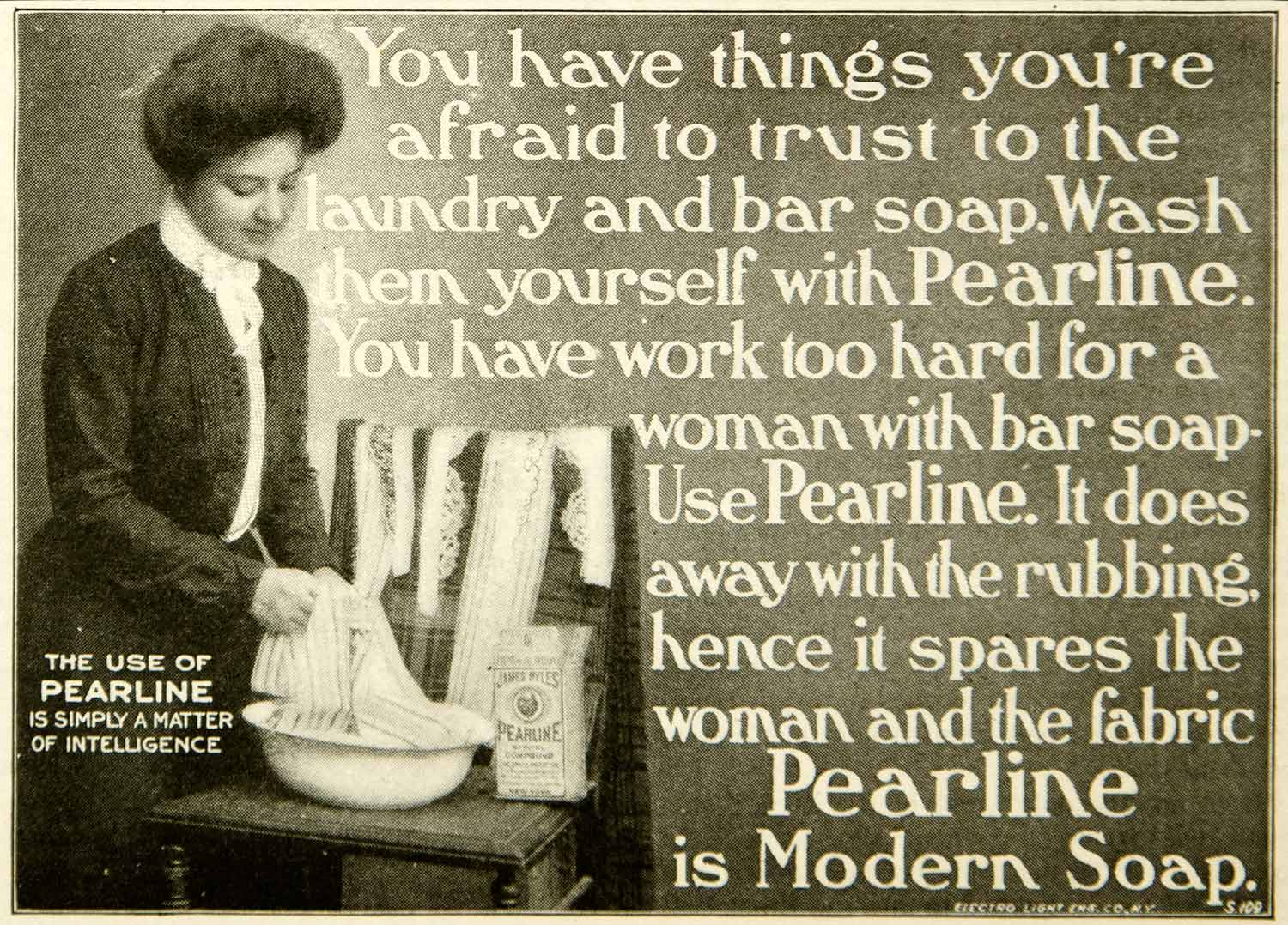 1902 Ad Pearline Soap Wash Laundry Victorian Woman Clean Modern Bar Fabric YYC2