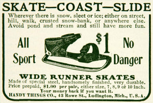 1903 Ad Wide Runner Ice Skate Handy Things Company Ludington Children Sport YYC2