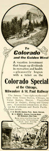 1907 Ad Colorado Special Chicago Milwaukee St. Paul Railway Railroad Union YYC2