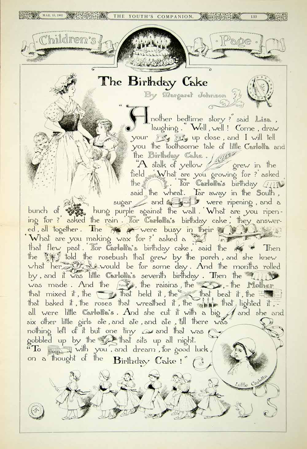 photo about Printable Cake Paper known as 1902 Print Birthday Cake Margaret Johnson Carlotta Quick Tale Mom Lovable YYC2