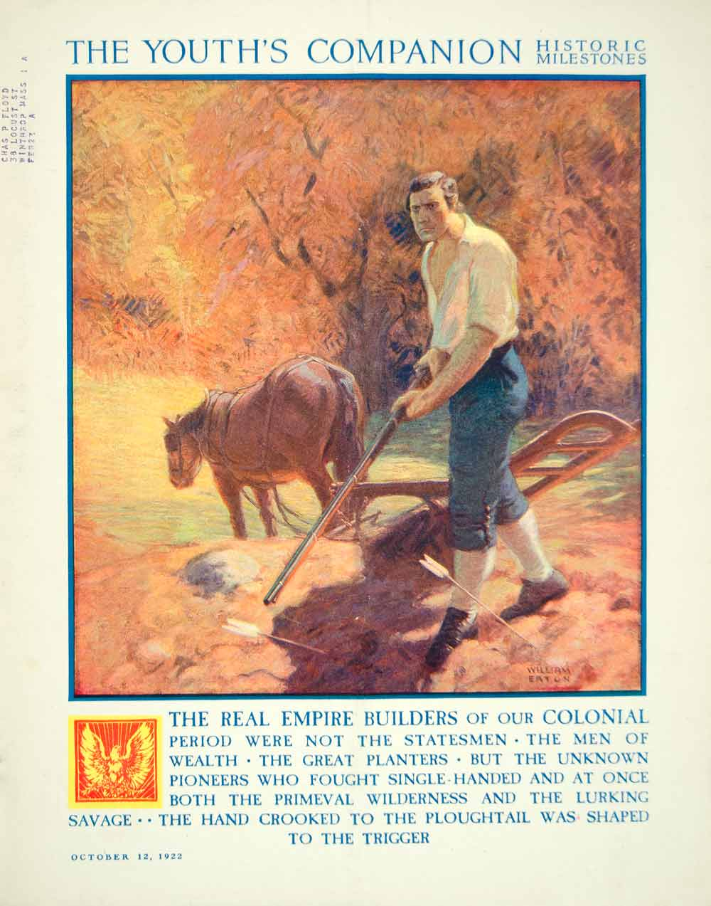 1922 Cover Youths Companion William Eaton Art Pioneer Frontier Farm Plough YYC3