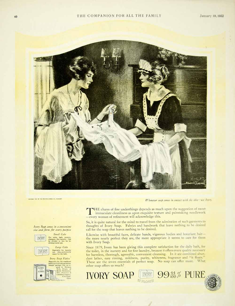 1922 Ad Ivory Soap Edward Claswell Art Laundry Detergent Health Beauty YYC3