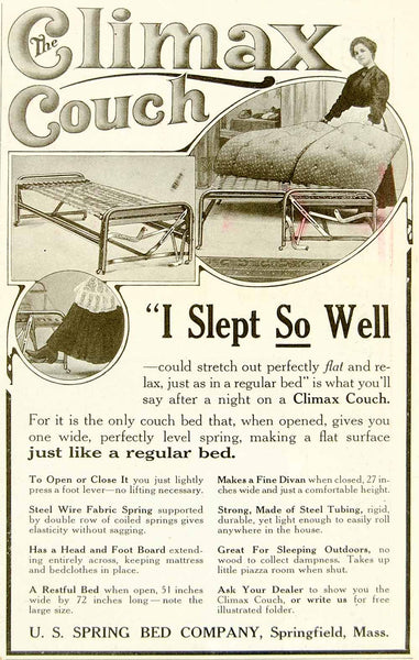 1920 Ad Us Spring Bed Climax Couch Furniture Household