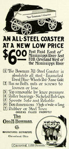 1922 Ad George H Bowman All-Steel Coaster Childrens Toy Wagon Cleveland YYC3