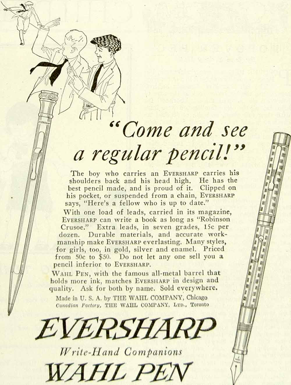 1922 Ad Wahl Eversharp Pencil Pen Writing Instrument Chicago IL School YYC3