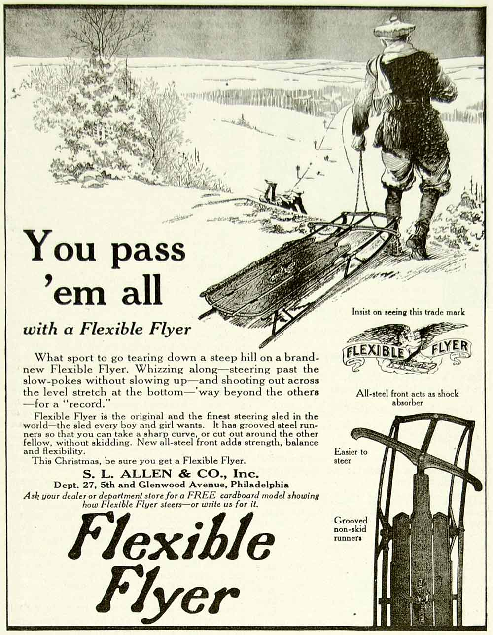1922 Ad SL Allen Flexible Flyer Snow Sledding Childrens Toy Winter Outdoors YYC3