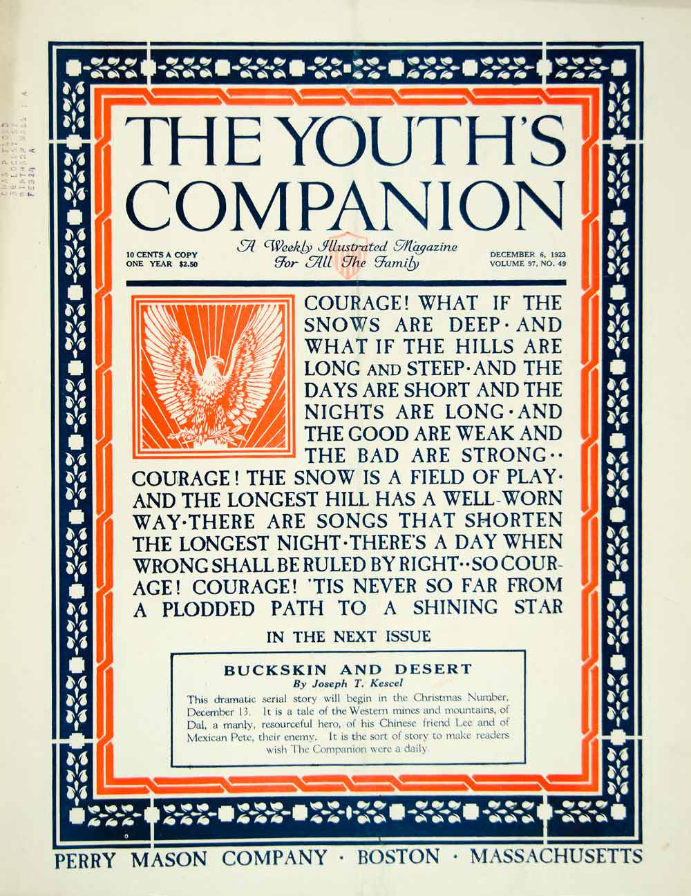 1923 Cover Youths Companion Art Buckskin Desert Joseph T Kescel Border YYC4