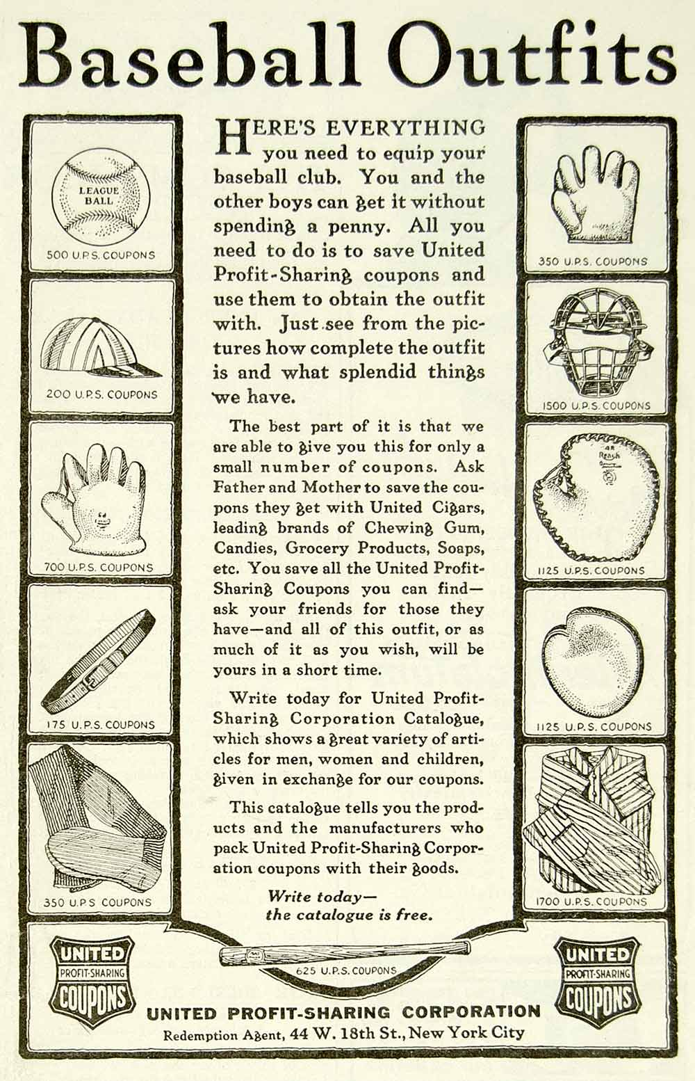 1923 Ad United Profit-Sharing Boys Baseball Outfits Uniforms Sporting Goods YYC4