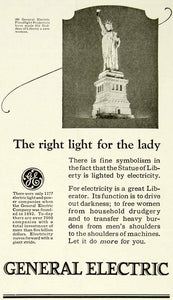 1923 Ad General Electric GE Utilities Statue Liberty Floodlights Projectors YYC4