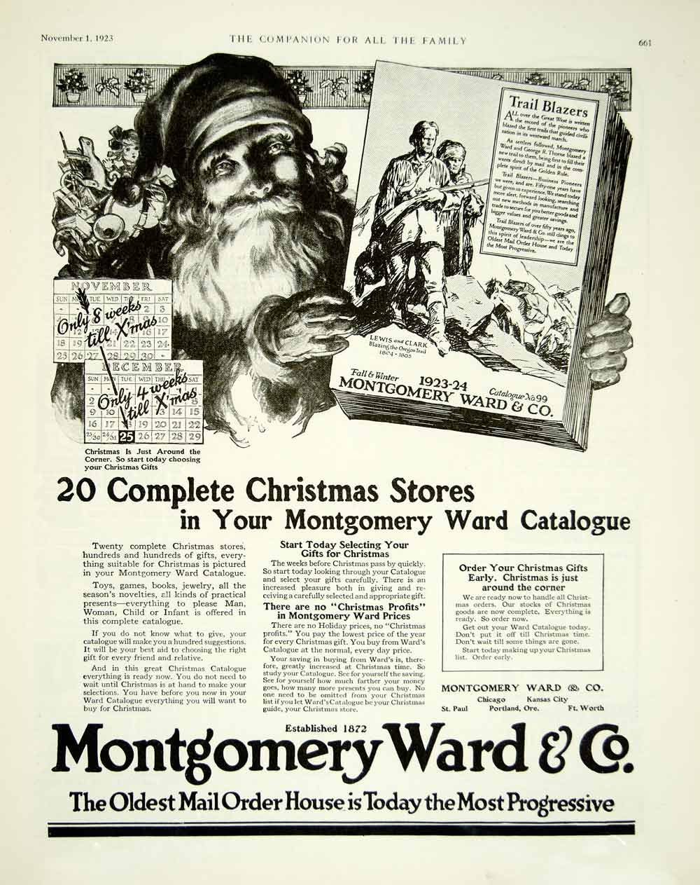 Christmas Mail Order Catalog.1923 Ad Montgomery Ward No 99 Mail Order Catalog Santa Claus Christmas Yyc4